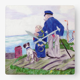 Sea Captain and Grandson Square Wall Clock