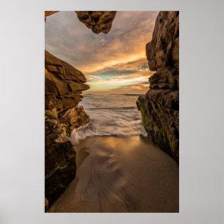Sea cave at Windansea Beach Poster