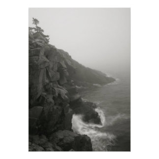 Sea Cliffs in White Mist Poster