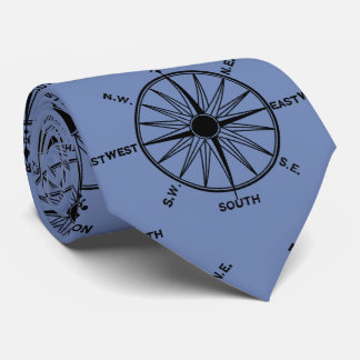 Sea Compass Pattern on Blue Tie