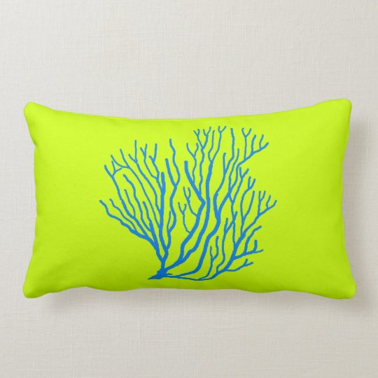 Sea Coral Lime Green and Blue Throw Pillow