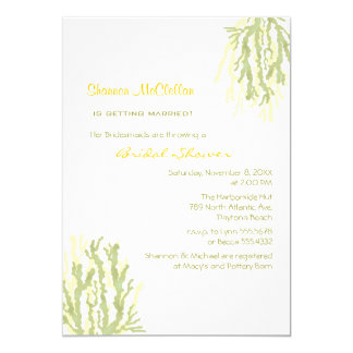 Sea Coral Sage Green Bridal Shower Card