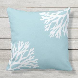 Sea Coral Silhouettes (Blue Daiquiri) Throw Pillow