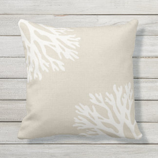 Sea Coral Silhouettes Outdoor Pillow