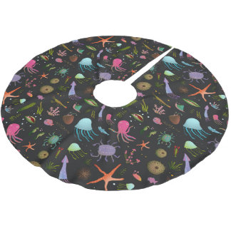 Sea Critters Pattern Brushed Polyester Tree Skirt