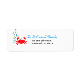 SEA CRITTERS RED CRAB PRINTABLE ADDRESS LABELS
