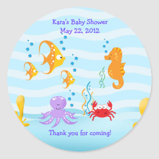 SEA CRITTERS Under Sea Baby Shower Favor Sticker