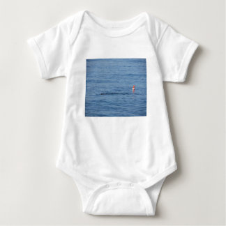 Sea diver in scuba suit swim in water baby bodysuit