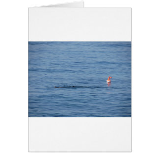 Sea diver in scuba suit swim in water card