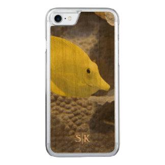 Sea Explorer Yellow Coral Fish Monogram Artisan Carved iPhone 8/7 Case