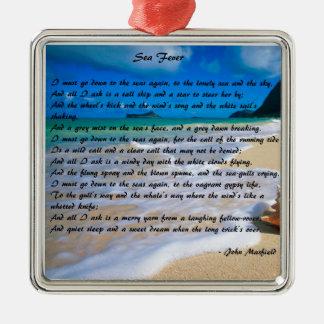 Sea Fever by: John Masefield Silver-Colored Square Ornament