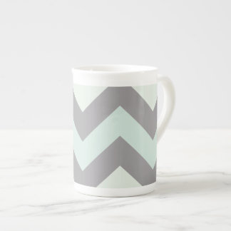 sea foam blue zig zag pattern tea cup