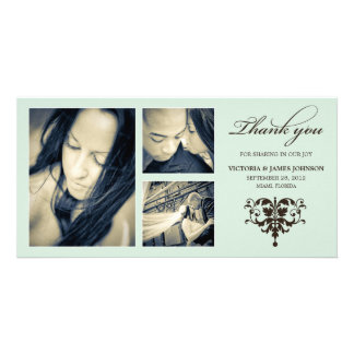 SEA FOAM FORMAL COLLAGE | WEDDING THANK YOU CARD PHOTO CARD