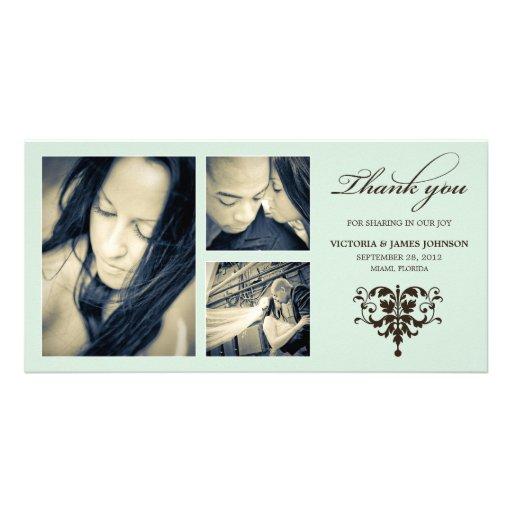 SEA FOAM FORMAL COLLAGE | WEDDING THANK YOU CARD CUSTOM PHOTO CARD