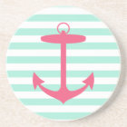 Sea Foam Green and Pink Anchor Coaster
