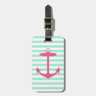 Sea Foam Green and Pink Anchor Luggage Tag