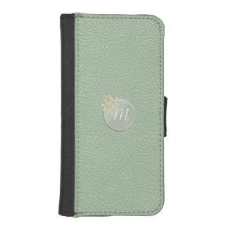 Sea Foam Green Faux Leather Daisy Monogram iPhone SE/5/5s Wallet Case
