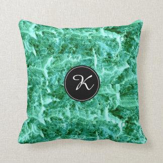 Sea Foam Green Pattern with Monogram Throw Pillow
