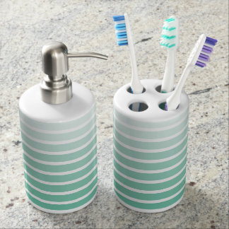 Sea Foam Green Stripe Shades Bathroom Set