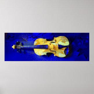 Sea Foam Green Violin Sapphire Blue Maple Leaves Poster