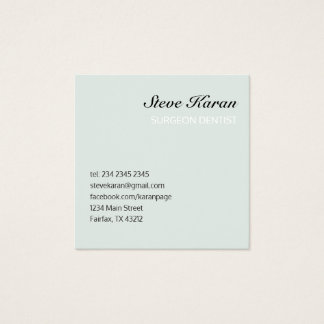 Sea Foam Minimal Professional Dentist Square Business Card