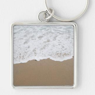 Sea foam, Ocean Waves Silver-Colored Square Keychain