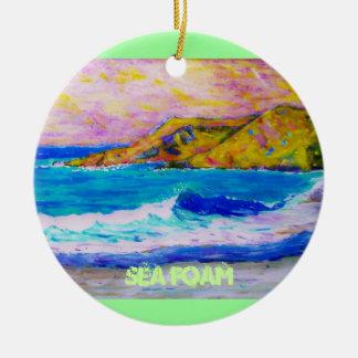 sea foam round ceramic ornament