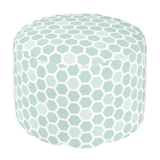 Sea Geometric Hexagon Pattern Pouf