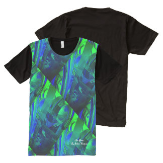 Sea Glass abstract t-shirt green, blue