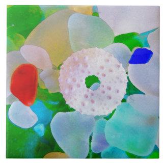 Sea Glass and Sea Urchin Shell Tile