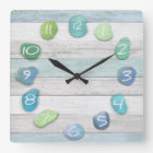 Sea Glass Beach Driftwood Ocean Square Wall Clock