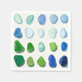 Sea glass, beach glass art napkins