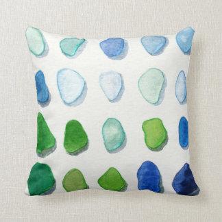 Sea glass, beach glass art painting square pillow