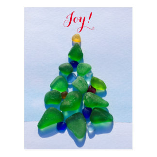 Sea glass, beach glass Christmas Holiday post card