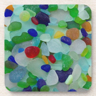 Sea glass, beach glass photo coasters