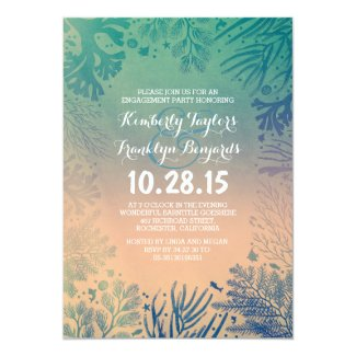 Sea glass Beach Underwater Corals Engagement Party Invitation