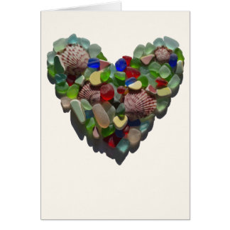 Sea glass heart customizable card, Valentine's day Card