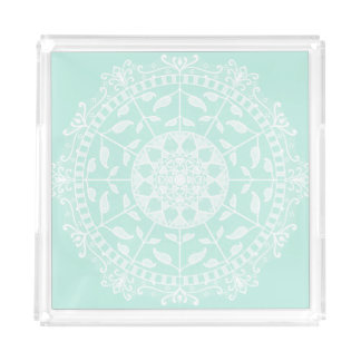 Sea Glass Mandala Acrylic Tray