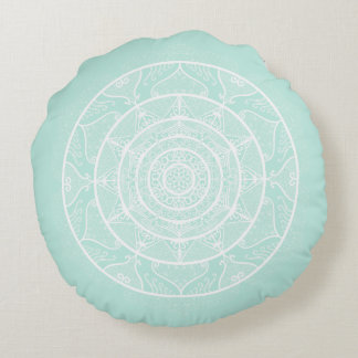 Sea Glass Mandala Round Pillow