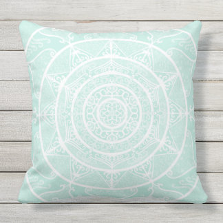 Sea Glass Mandala Throw Pillow