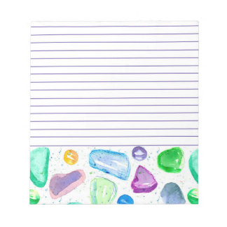 Sea Glass Marbles Watercolor Lined Notepads
