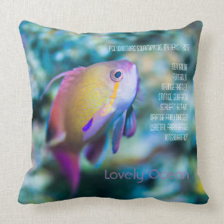 Sea goldie, colorful cute fish throw pillow