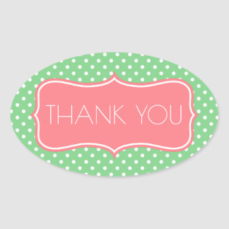 Sea Green and Coral Pink Polka Dot Thank You Oval Sticker