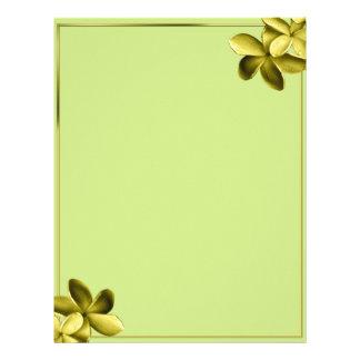 Sea Green and Pale Yellow Plumeria Flower Letterhead Design