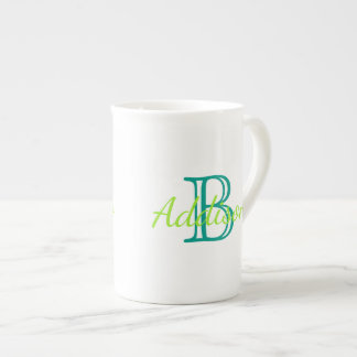 Sea Green and Turquoise Monogram Tea Cup