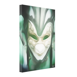 Sea Green and White Masquerade Mask Canvas Print
