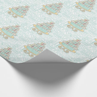 Sea Green and Yellow Illustrated Birthday Cake Wrapping Paper