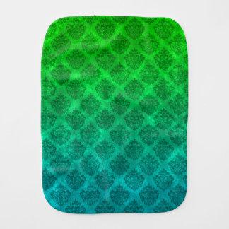 Sea Green Blue Ornate Damask Grunge Texture Design Baby Burp Cloths