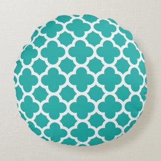 Sea Green Color Quatrefoil Pattern Round Pillow