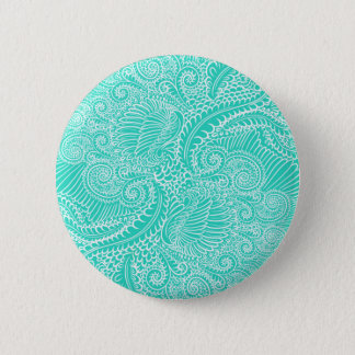 Sea Green Floral twists 2 Inch Round Button